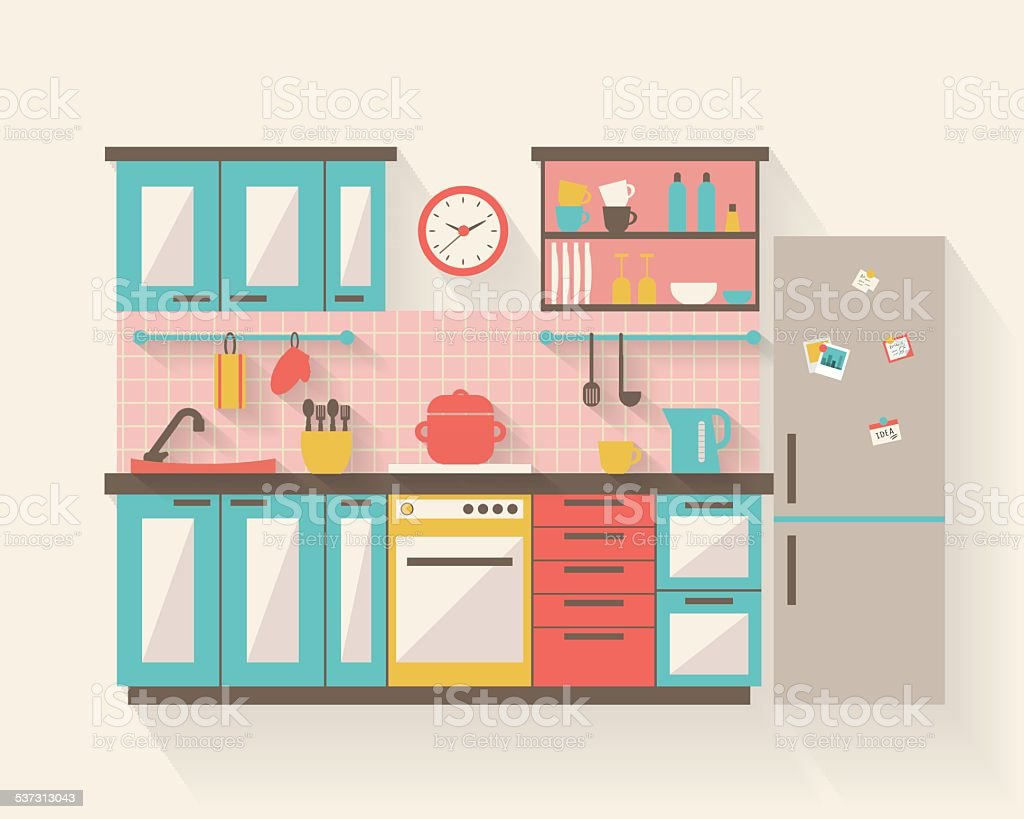 Kitchen with furniture flat illustration vector art illustration