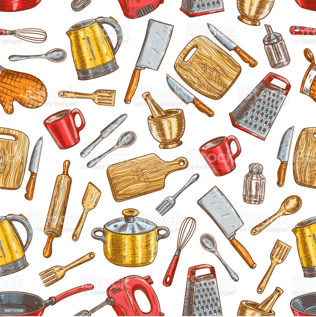 Kitchenware and dishware seamless pattern vector art illustration