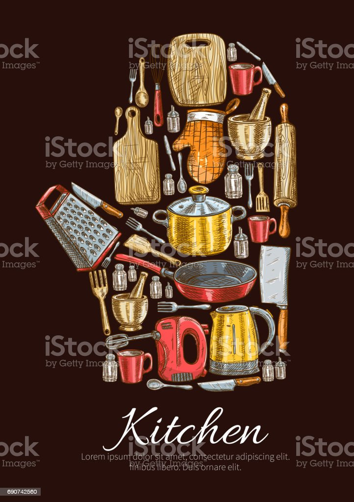Kitchenware and dishware vector poster vector art illustration