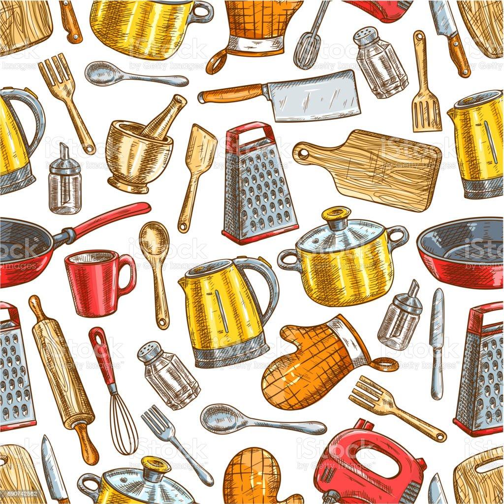 Kitchenware, dishware, kitchen utensils pattern vector art illustration