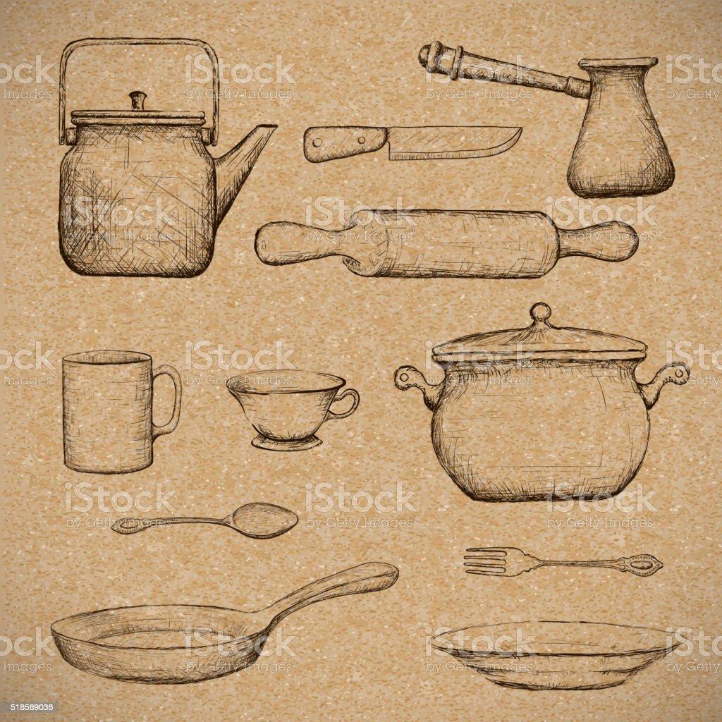 Kitchenware. Doodle image vector art illustration