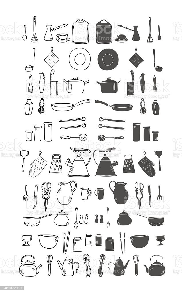 Kitchenware. Doodle set in vector isolated on a white background. vector art illustration