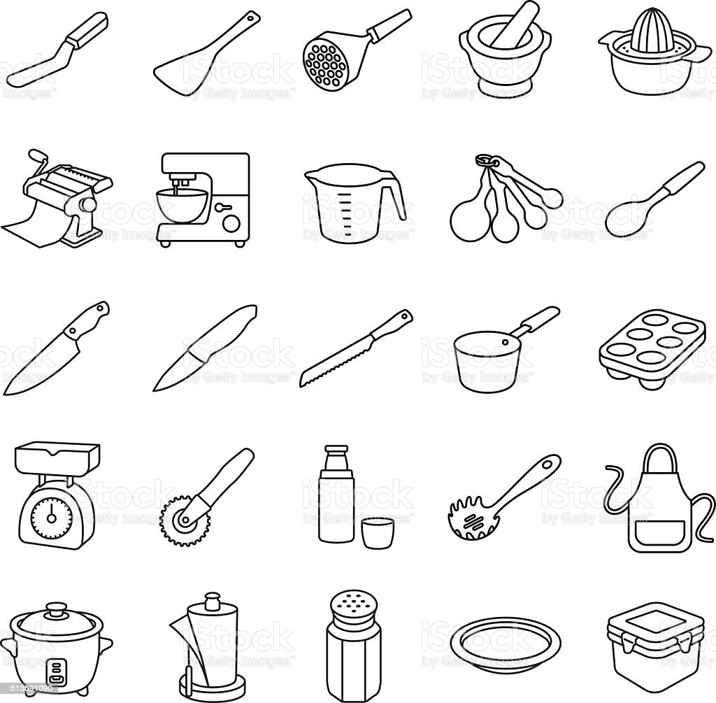 Kitchenware II outlines vector icons vector art illustration