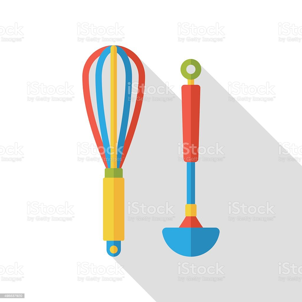 kitchenware rolling pin and spoon flat icon vector art illustration