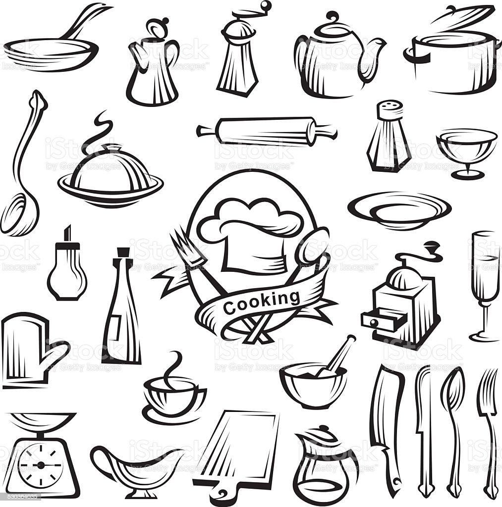 kitchenware set vector art illustration