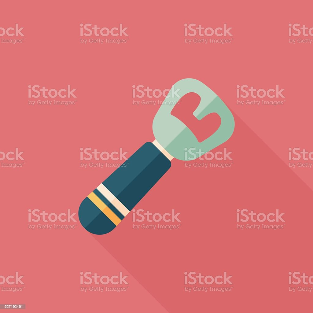 kitchenware tin opener flat icon with long shadow,eps10 vector art illustration