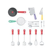 Kitchenware vector cutlery icons.