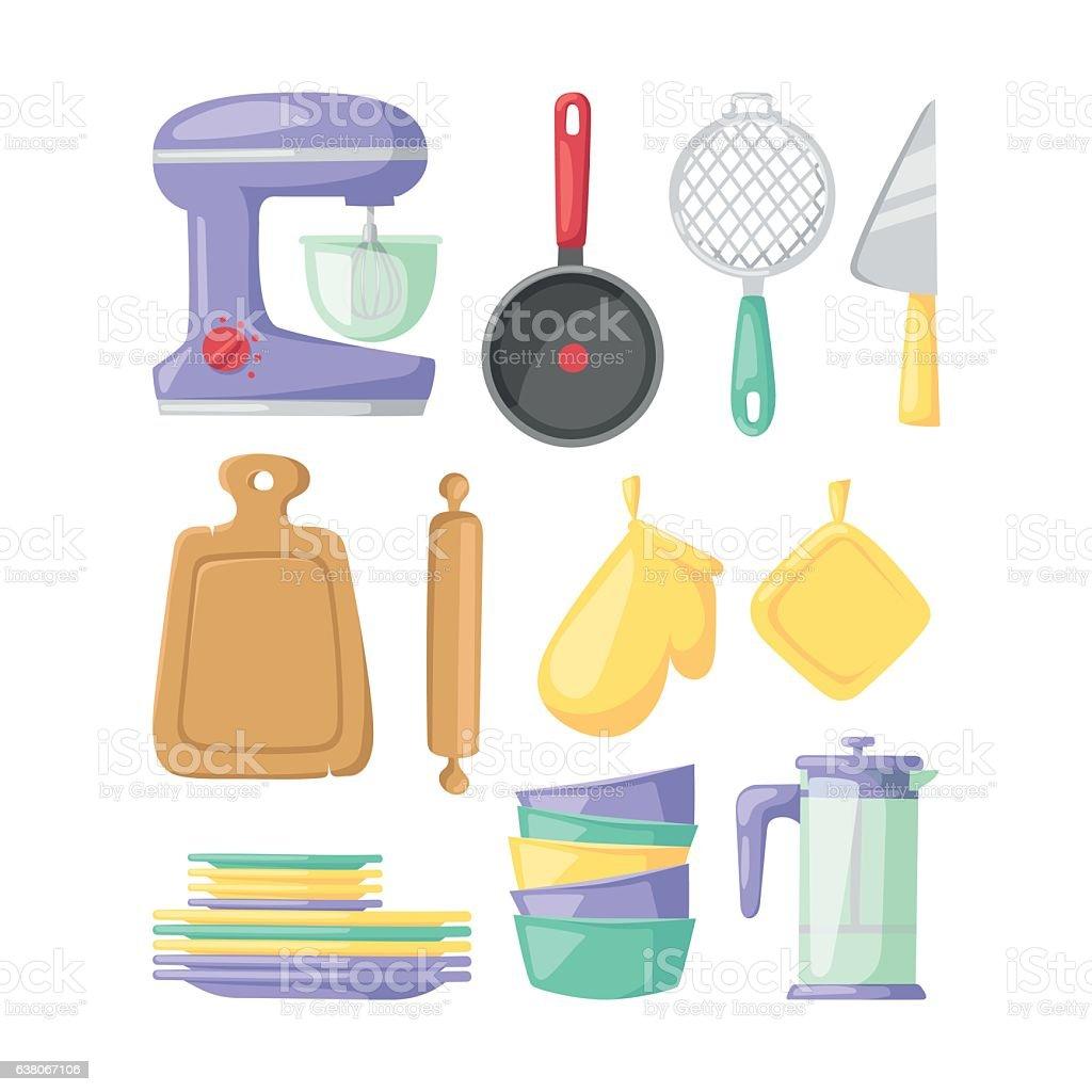 Kitchenware vector icons. vector art illustration