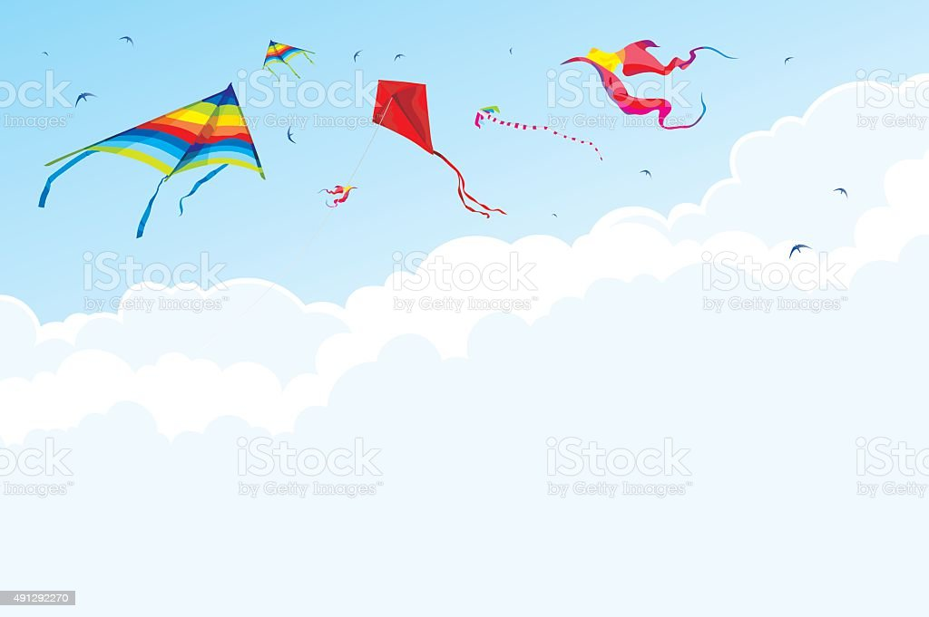 Kites and birds on the background of sky and clouds vector art illustration