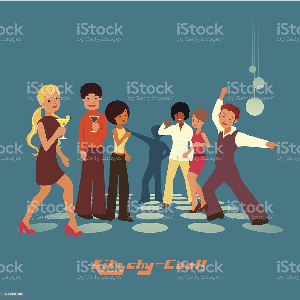 kitschy party! vector art illustration
