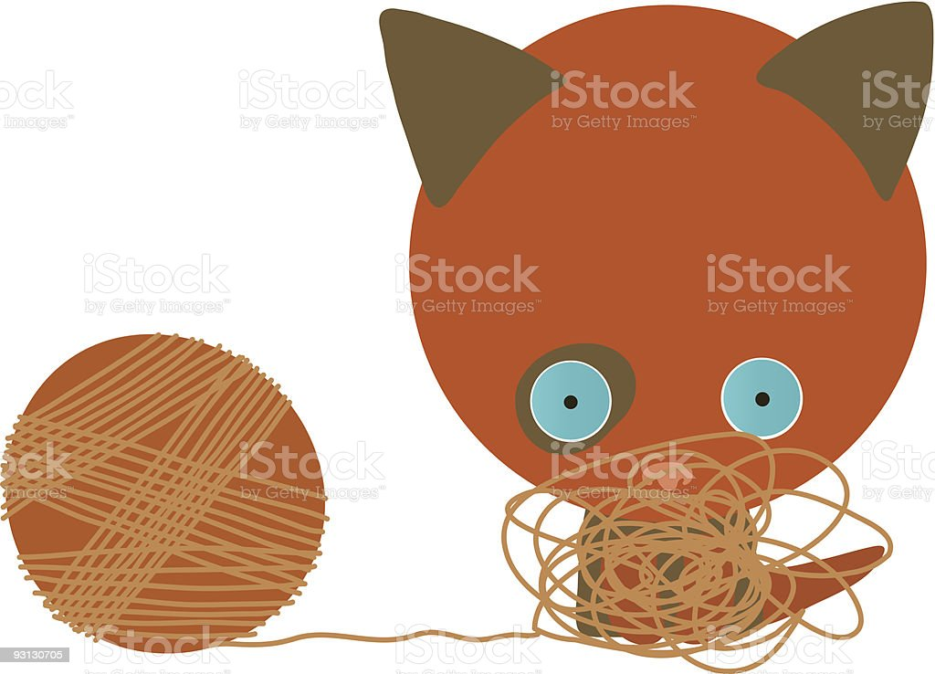 kitten and clew vector art illustration