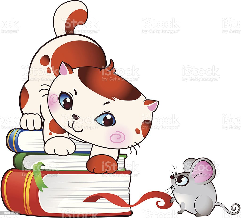 Kitten and mouse royalty-free stock vector art