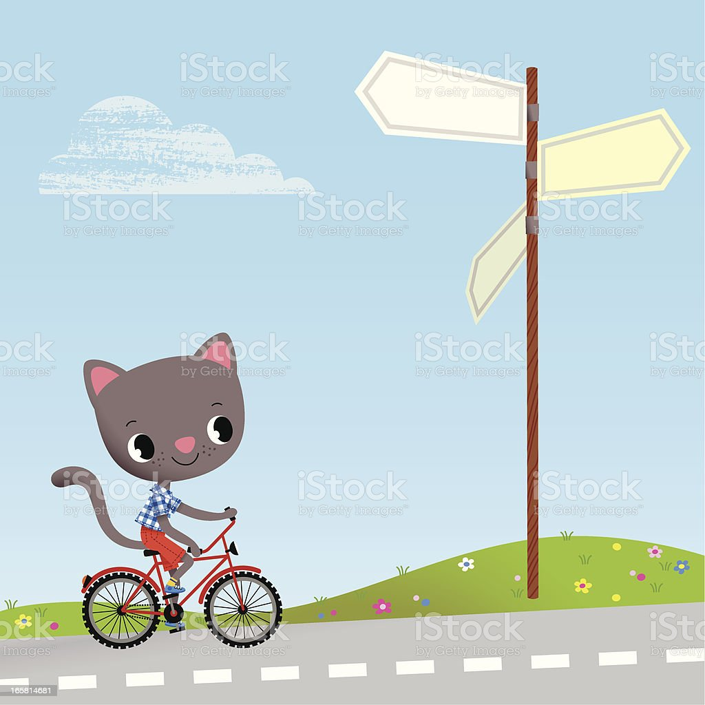 Kitten and  Road Sign. royalty-free stock vector art