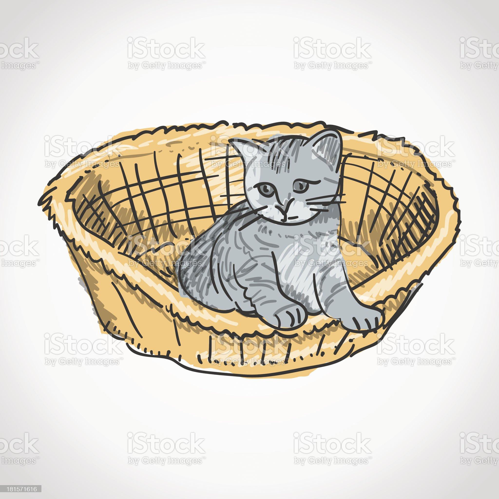 Kitten in Basket royalty-free stock vector art
