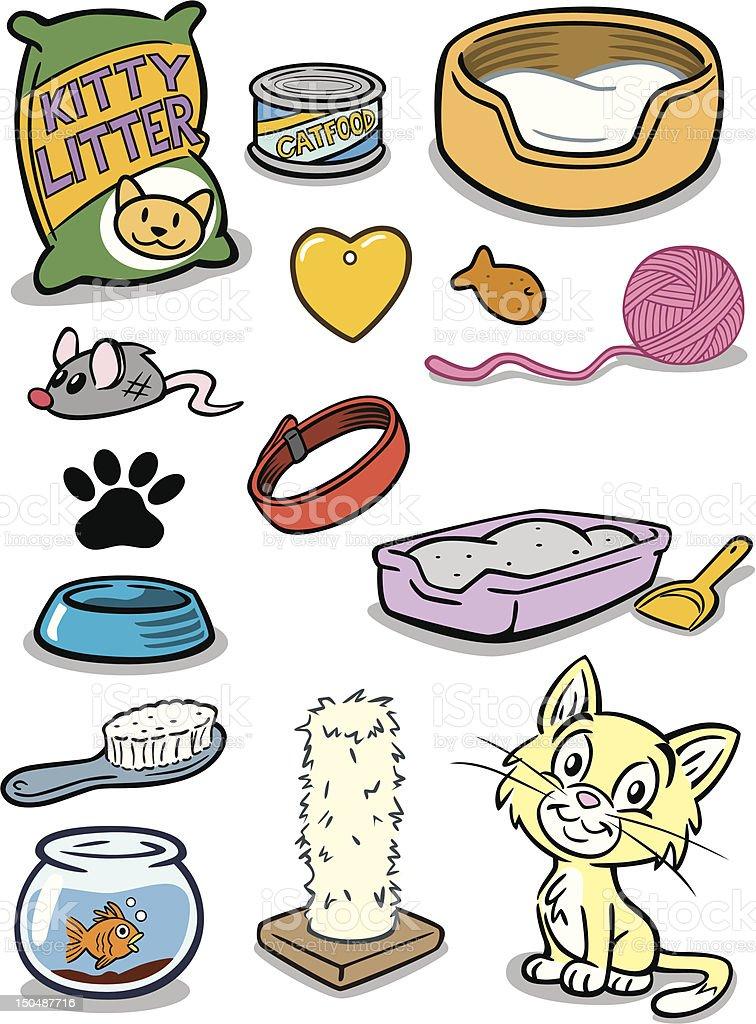 Kitten Stuff vector art illustration