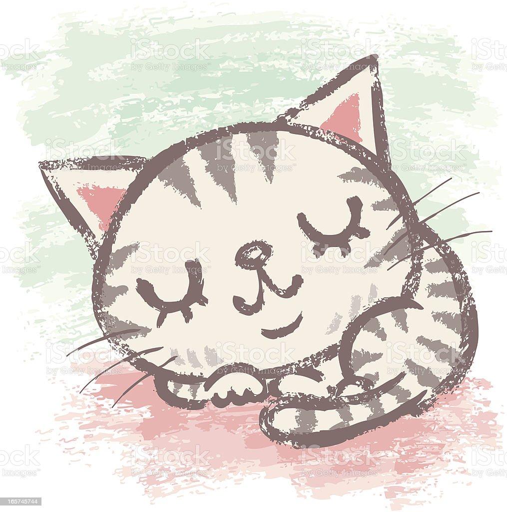 Kitten that is sleeping vector art illustration