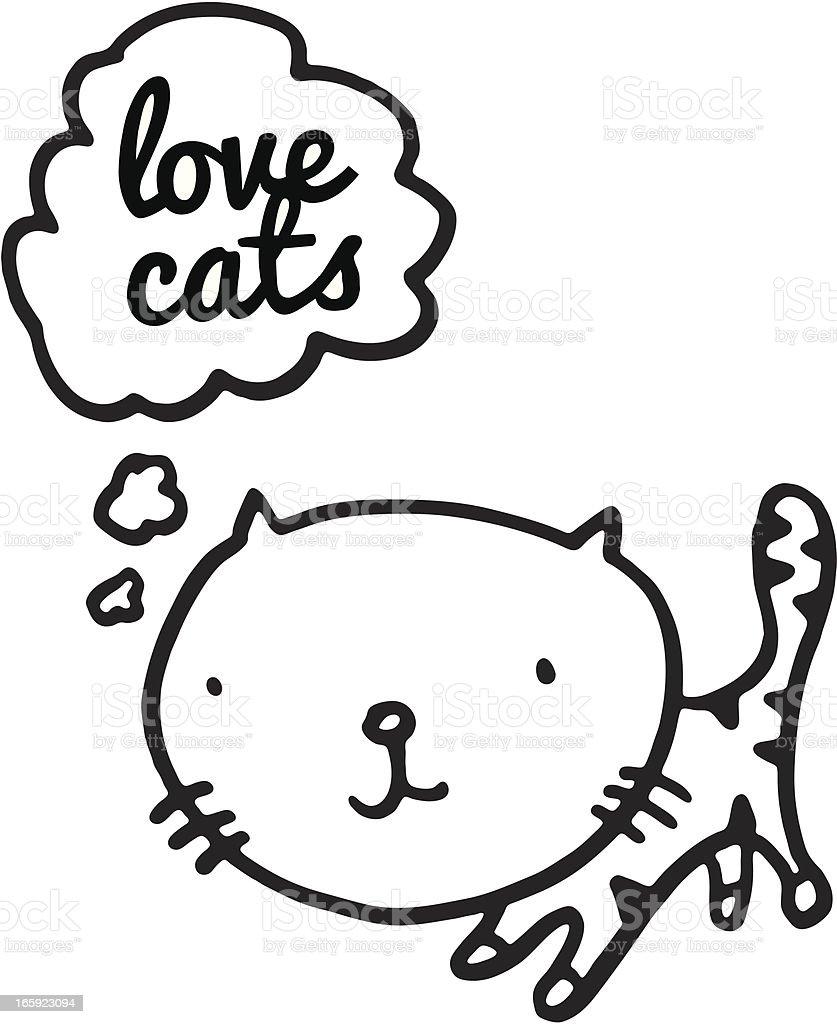 Kitten thinking vector art illustration