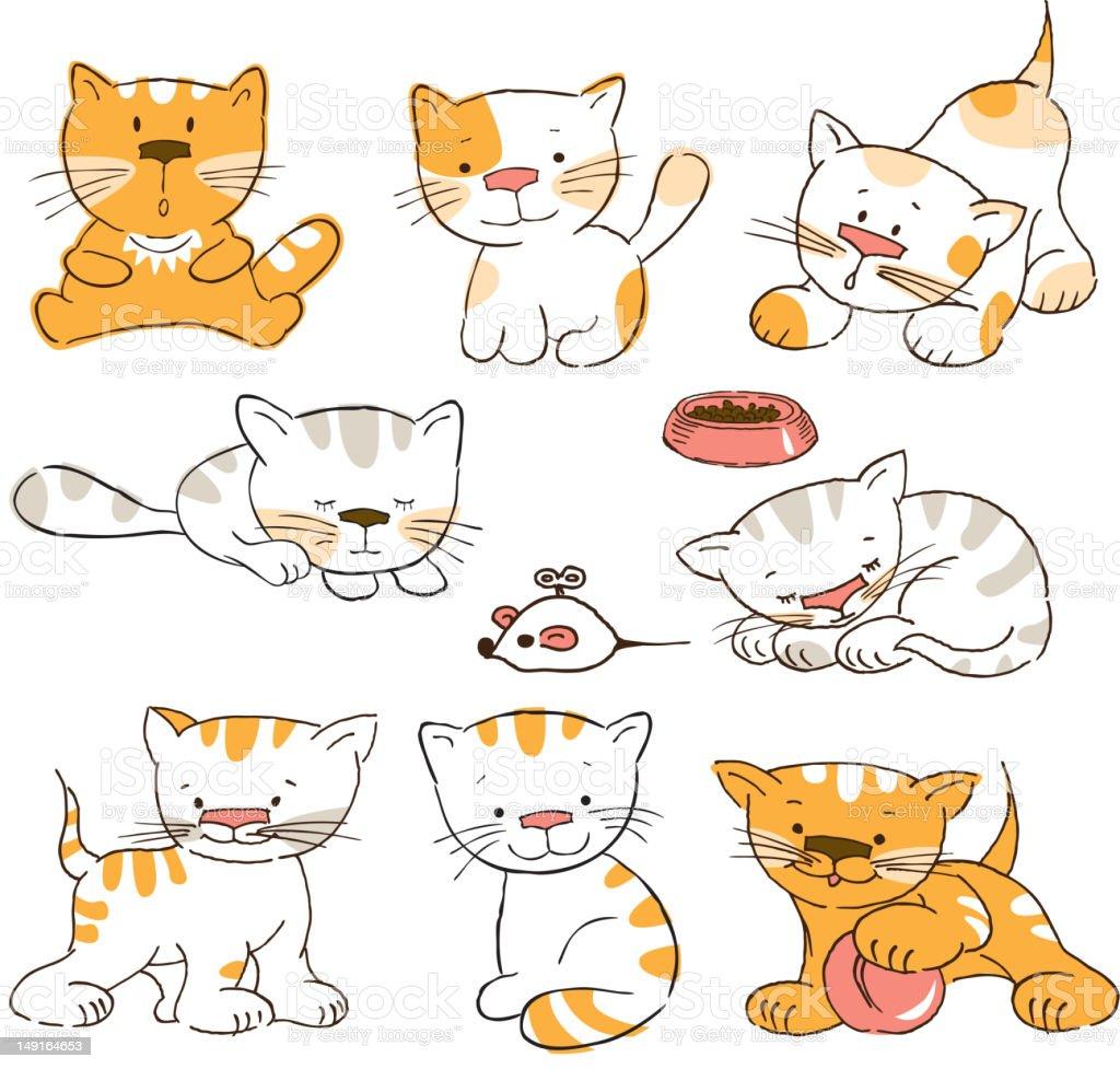 kittens vector art illustration