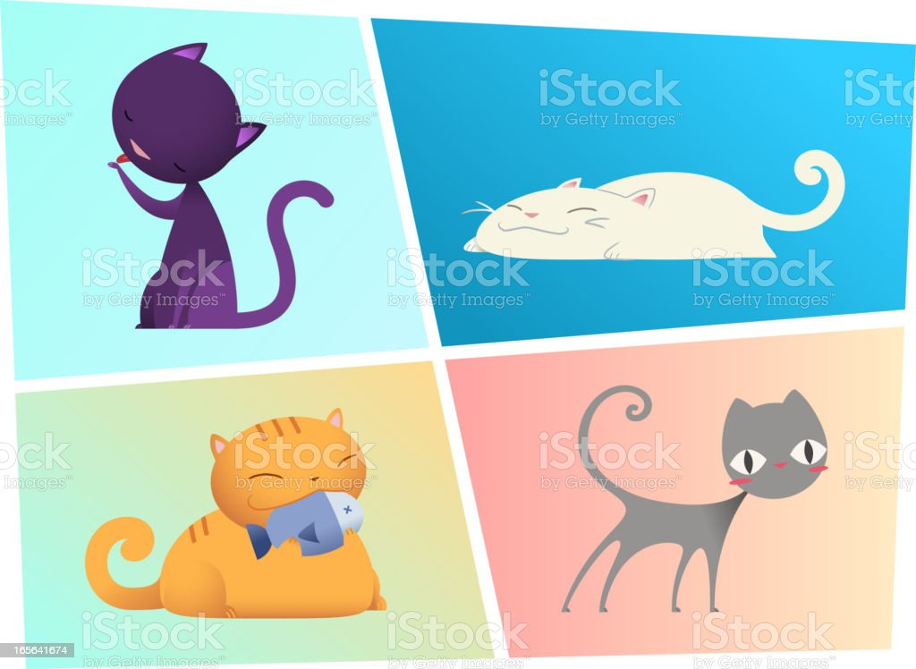 Kitty Cats kitten cat kit pussycat vector art illustration