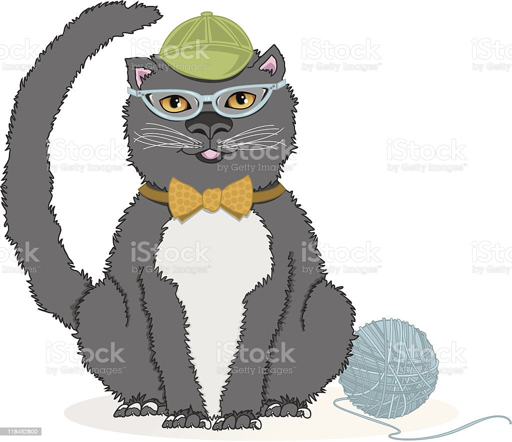 Kitty with CatEye Glasses vector art illustration