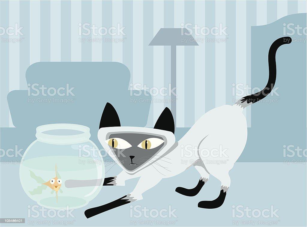 Kitty's Lunch vector art illustration