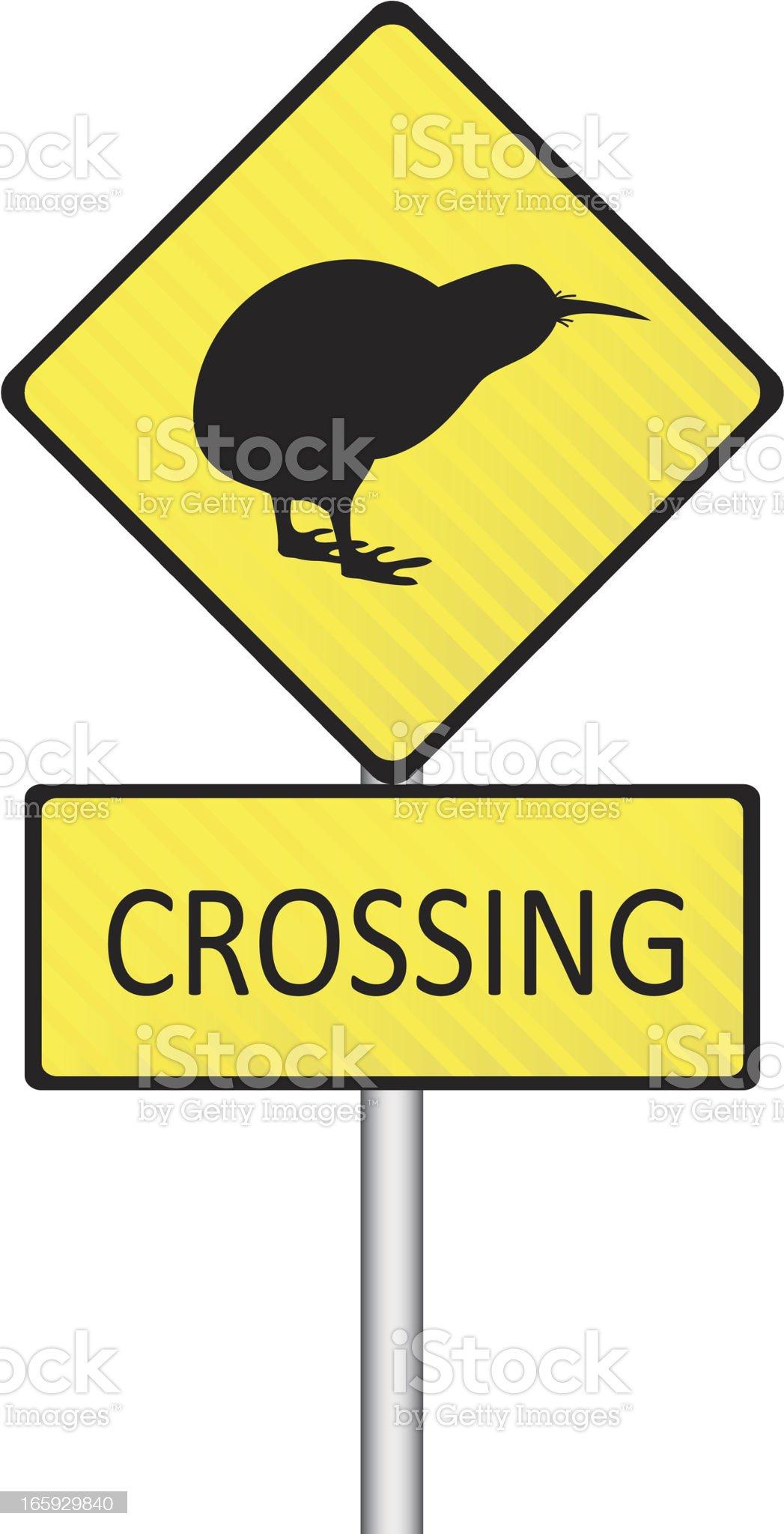 Kiwi Crossing Road Sign royalty-free stock vector art