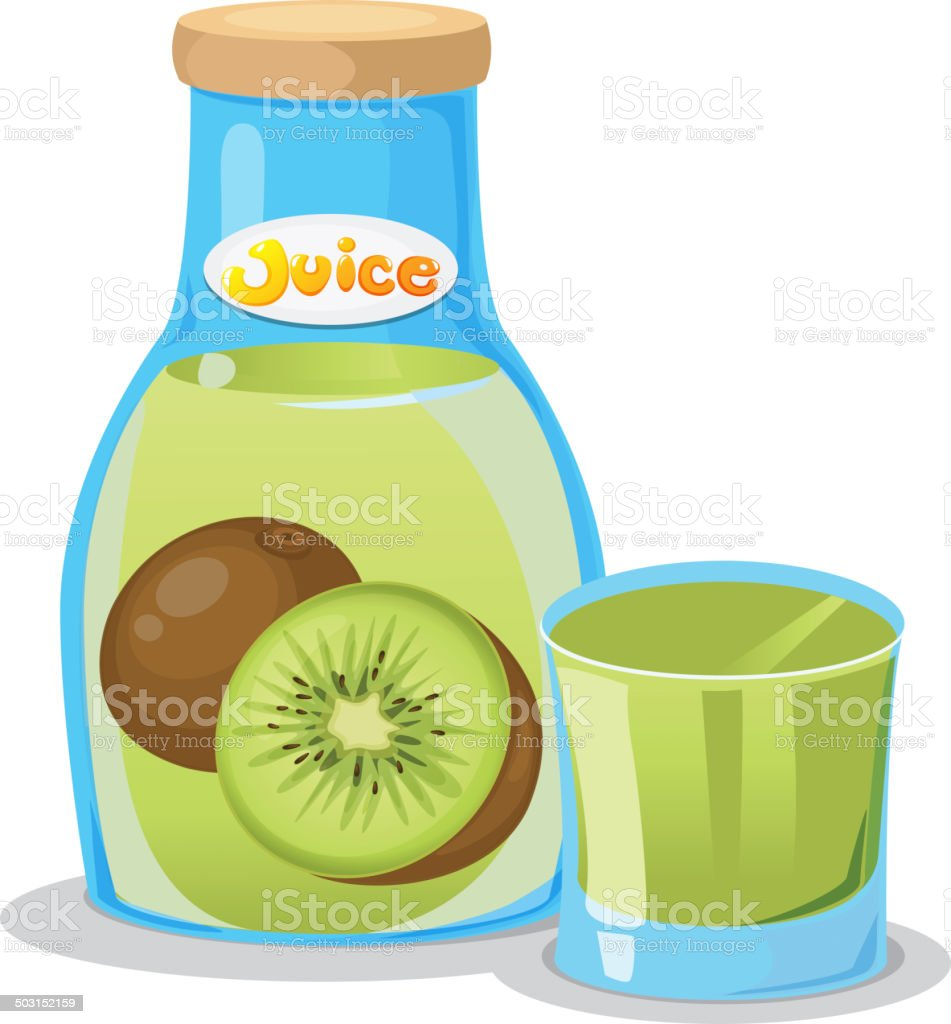 Kiwi juice in the bottle vector art illustration