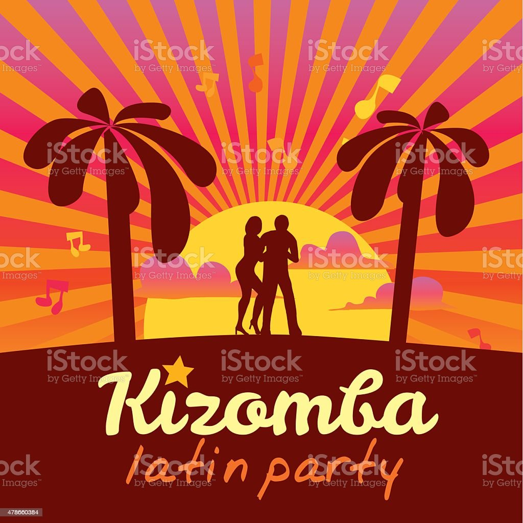 Kizomba poster for the party. Dancing couple vector art illustration