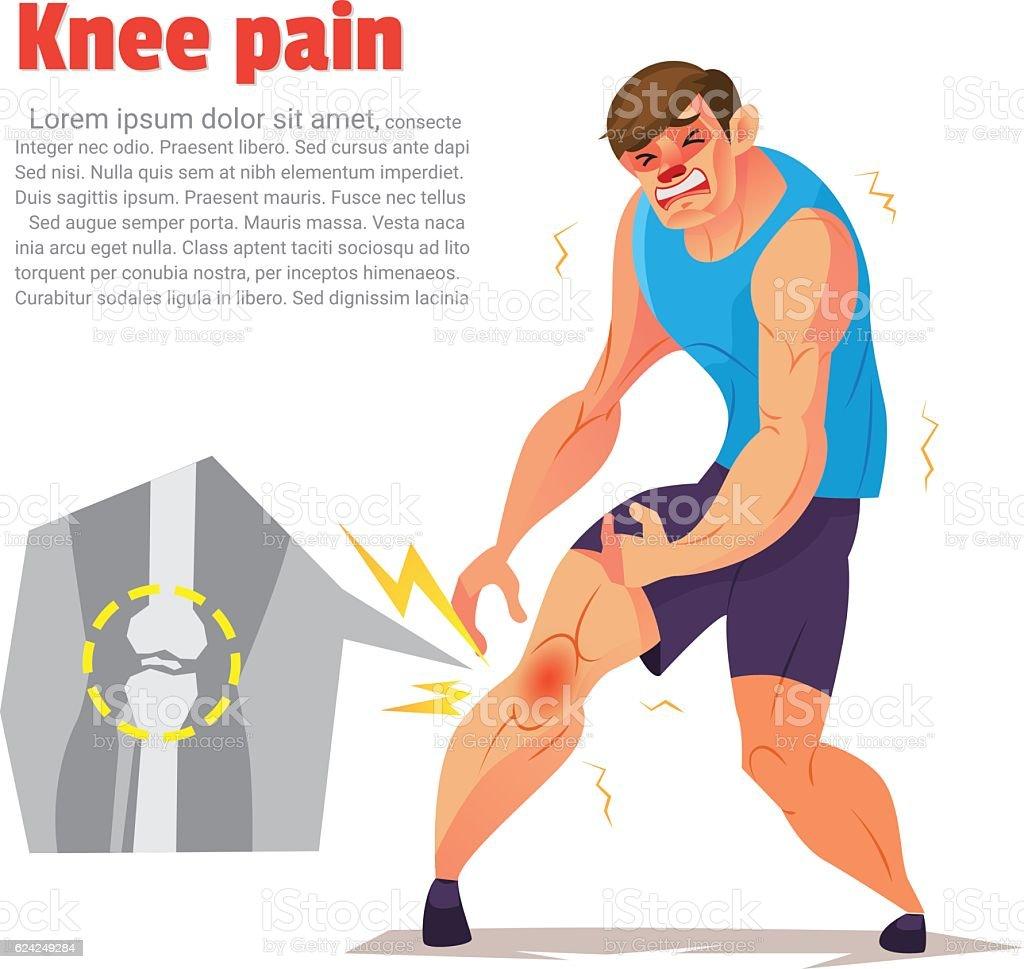 Knee pain of ahtletic, Cartoon character, Vector illustration. vector art illustration