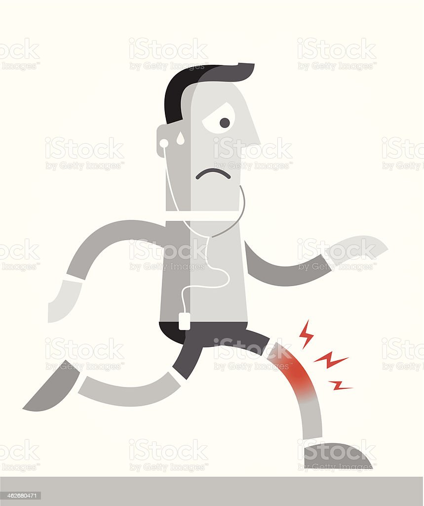 Knee pain while jogging vector art illustration