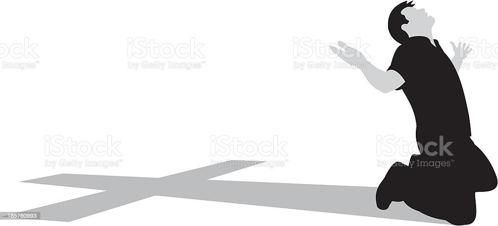 Kneeling At The Cross royalty-free stock vector art
