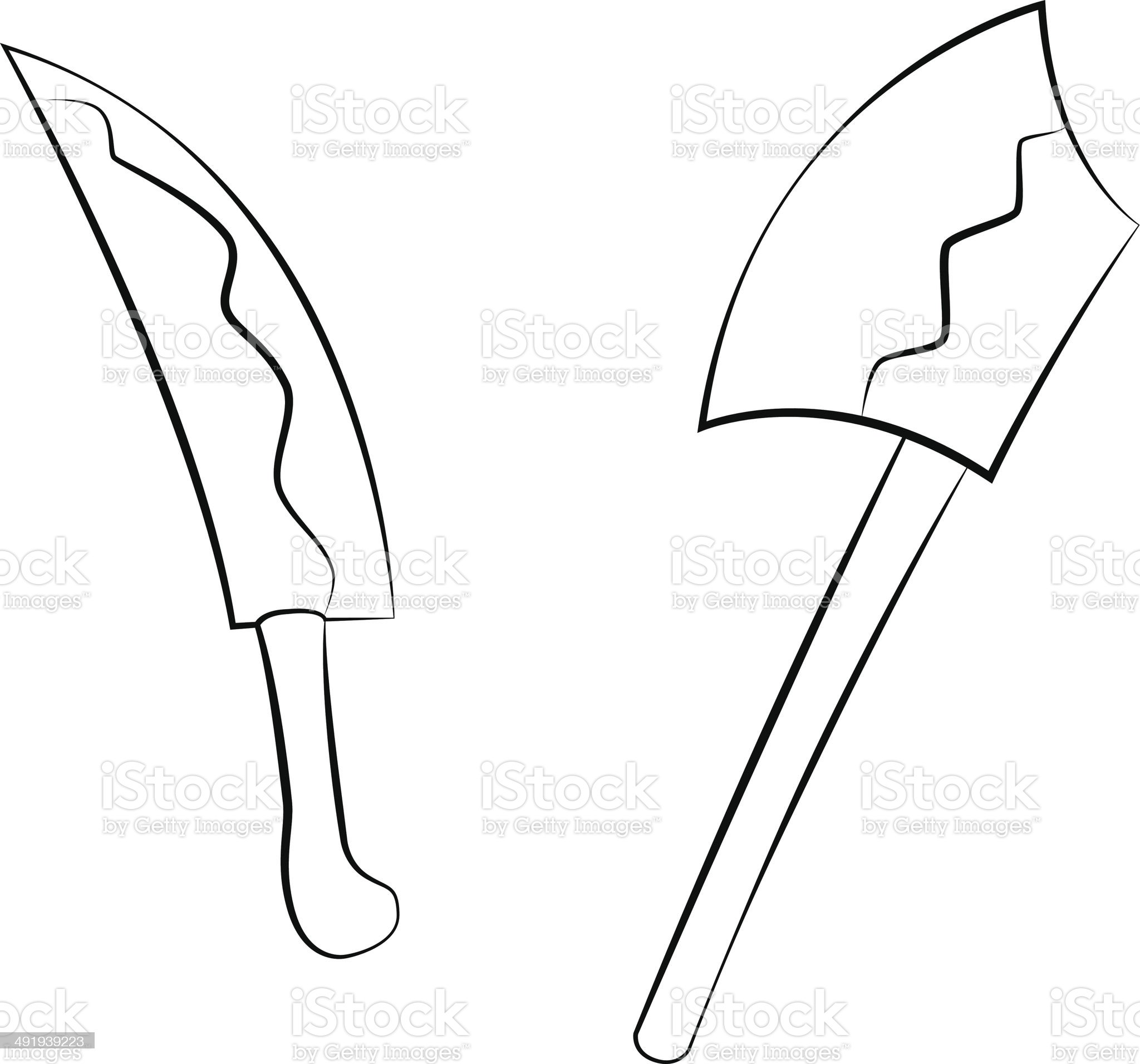 Knife and Axe royalty-free stock vector art