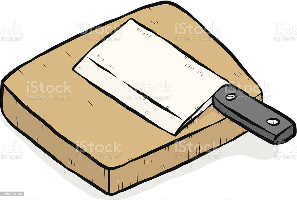 knife and chopping block vector art illustration