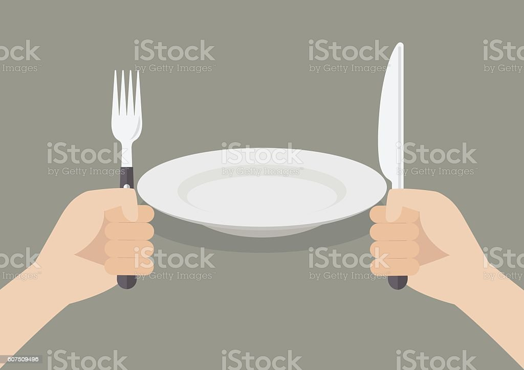 Knife and fork cutlery in hands with white plate vector art illustration