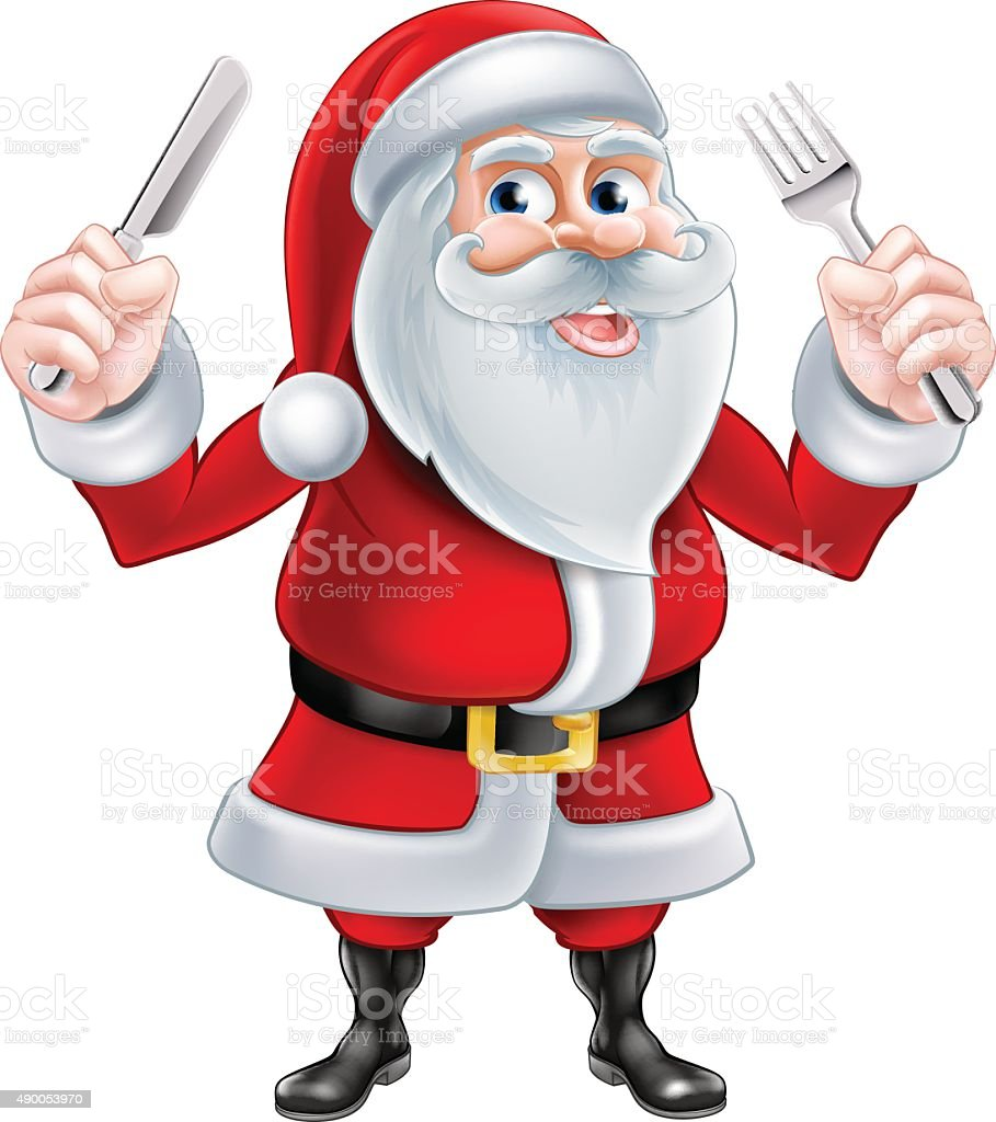 Knife and Fork Santa vector art illustration