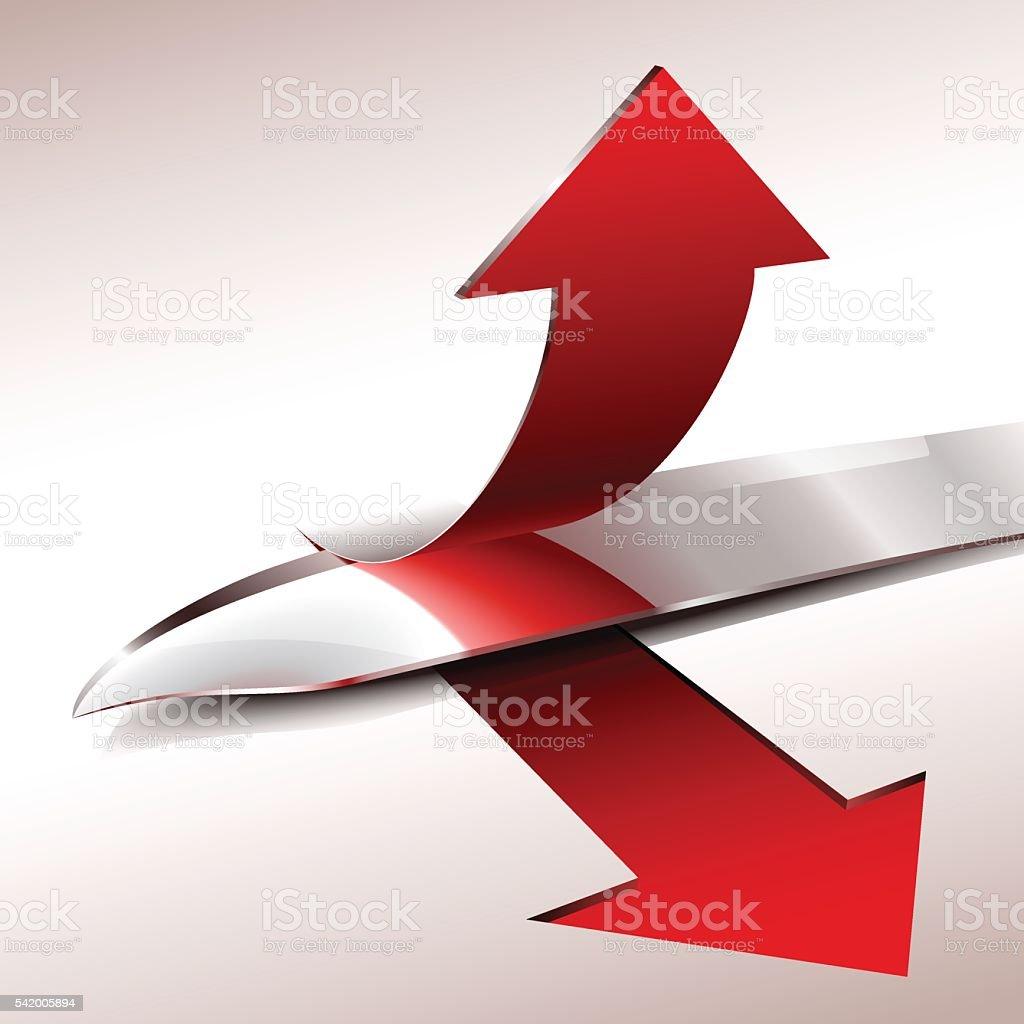 Knife Blade Cut Slice Arrow Upward vector art illustration