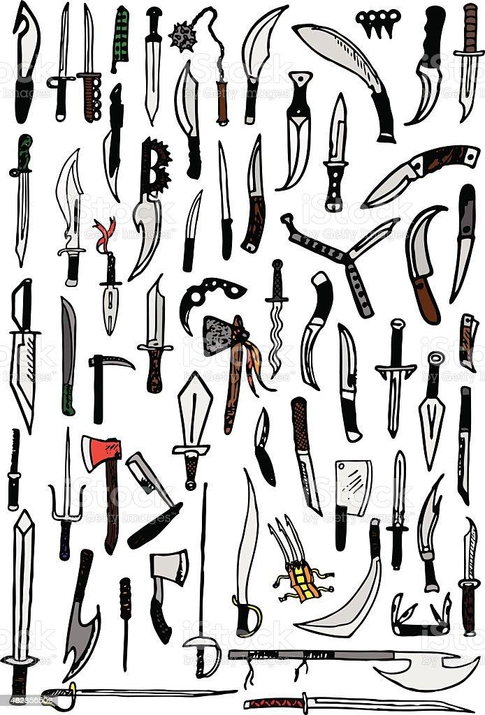 Knife Doodles vector art illustration