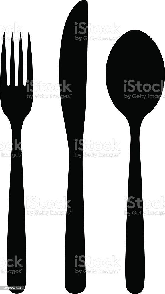 knife, fork and spoon vector art illustration