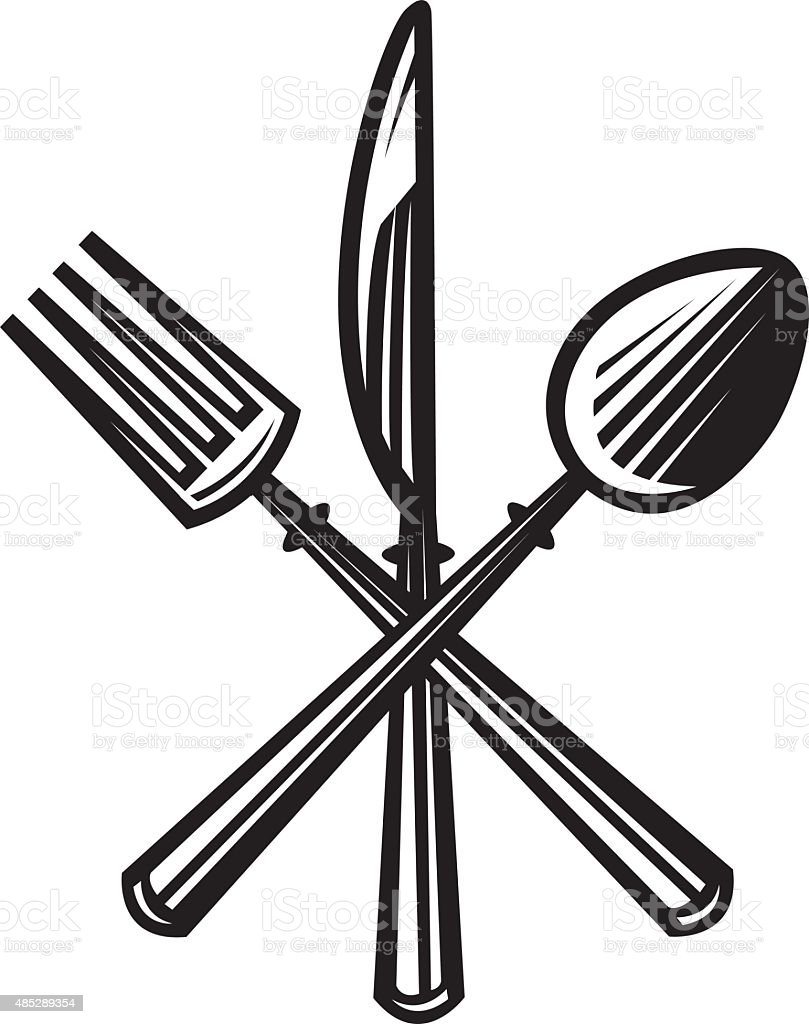 knife, fork and spoon vector art illustration