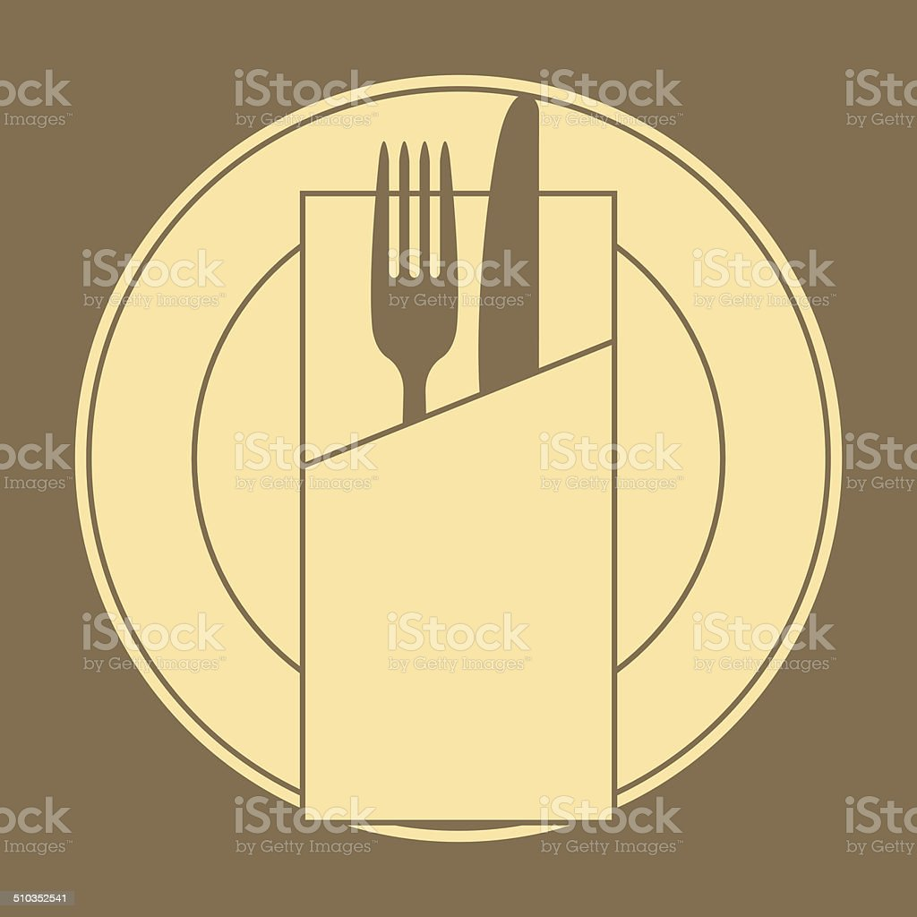 Knife, fork, plate and napkin vector art illustration