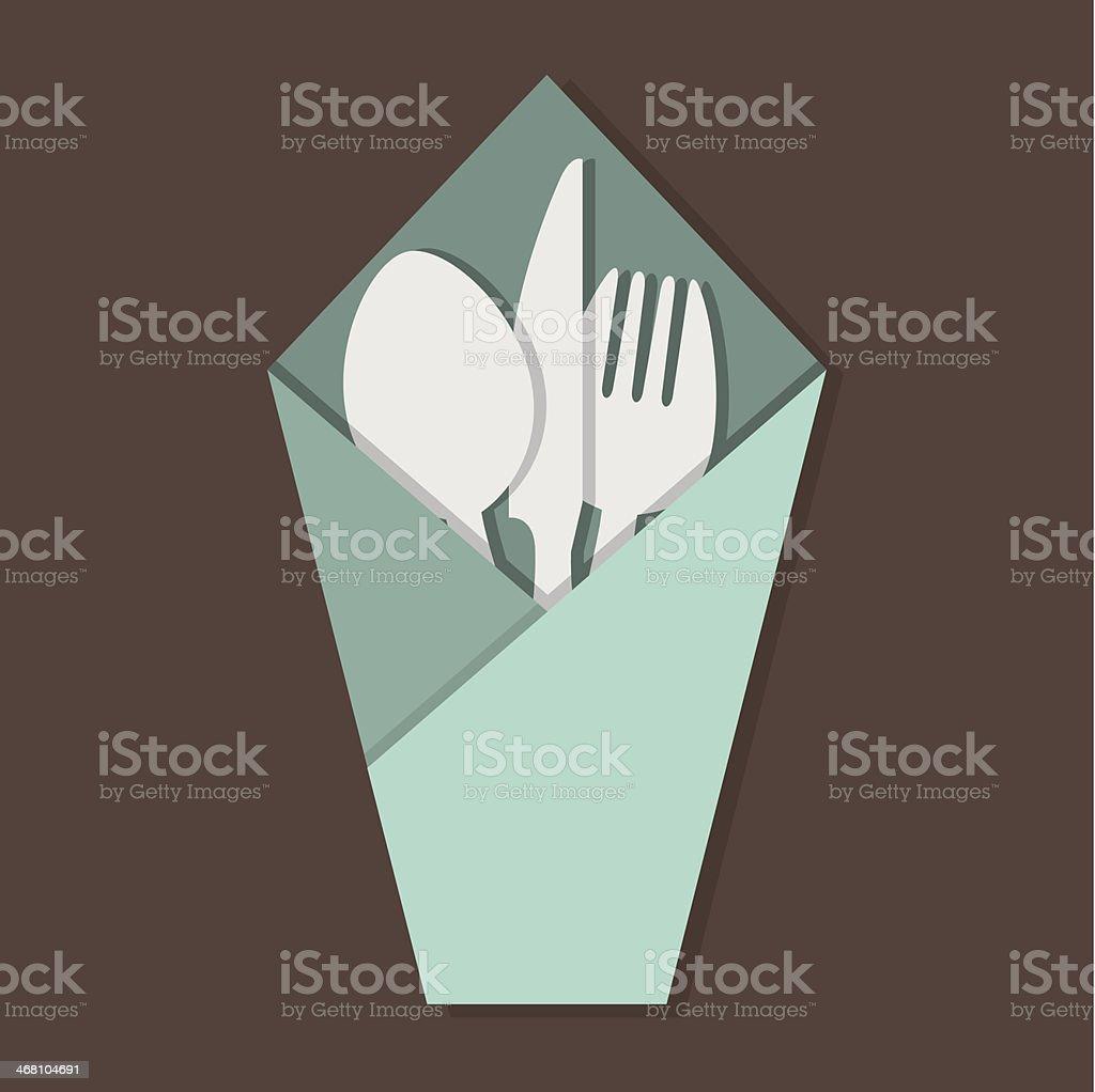 Knife Fork Spoon Set In Table Napkin. vector art illustration