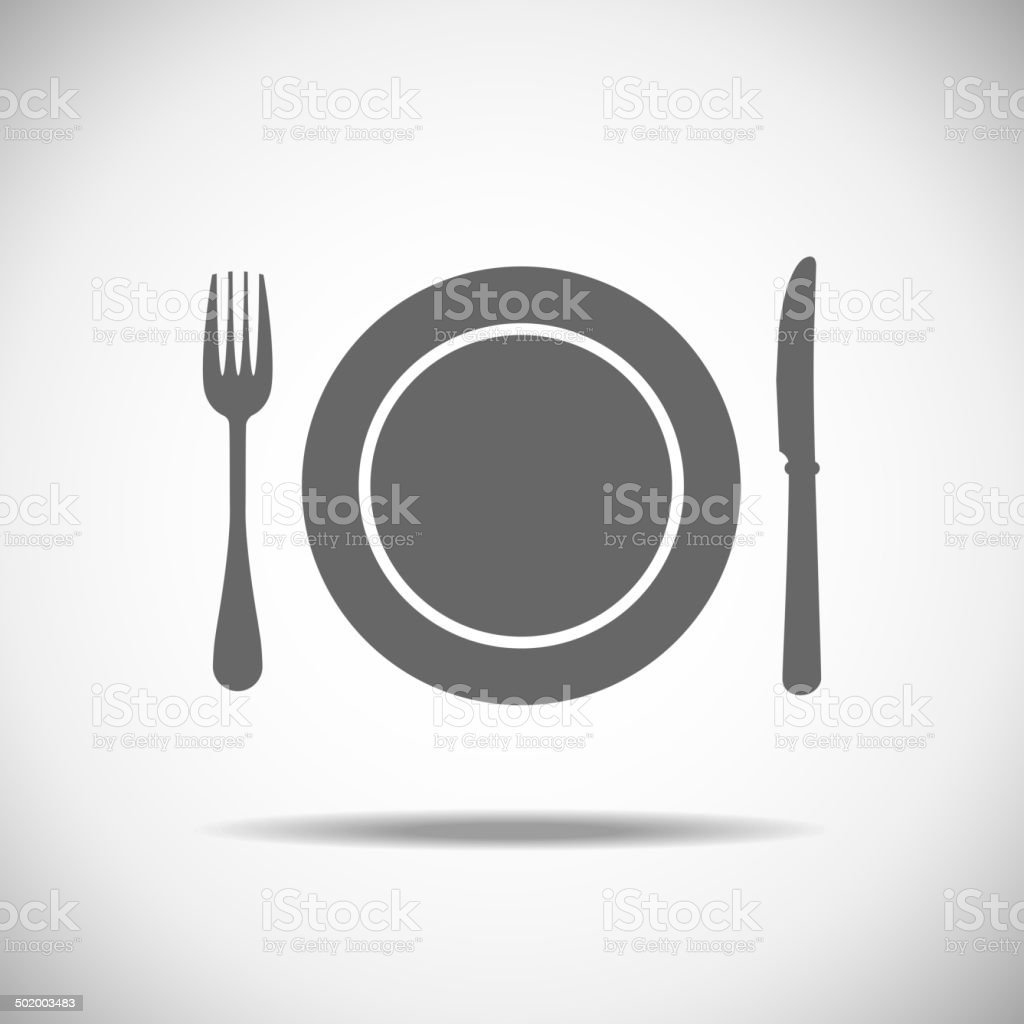 Knife, plate, fork vector art illustration