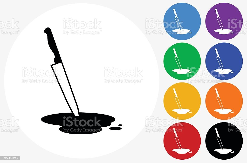 Knife  Pool of Blood Icon on Flat Color Circle Buttons vector art illustration