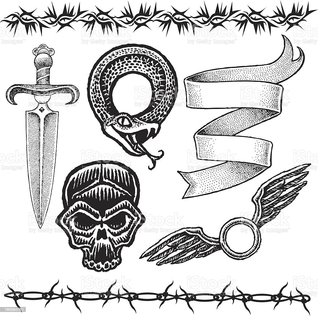 Knife, Skull, Snake, Barbed Wire, Ribbon, Wings Tattoo Designs vector art illustration