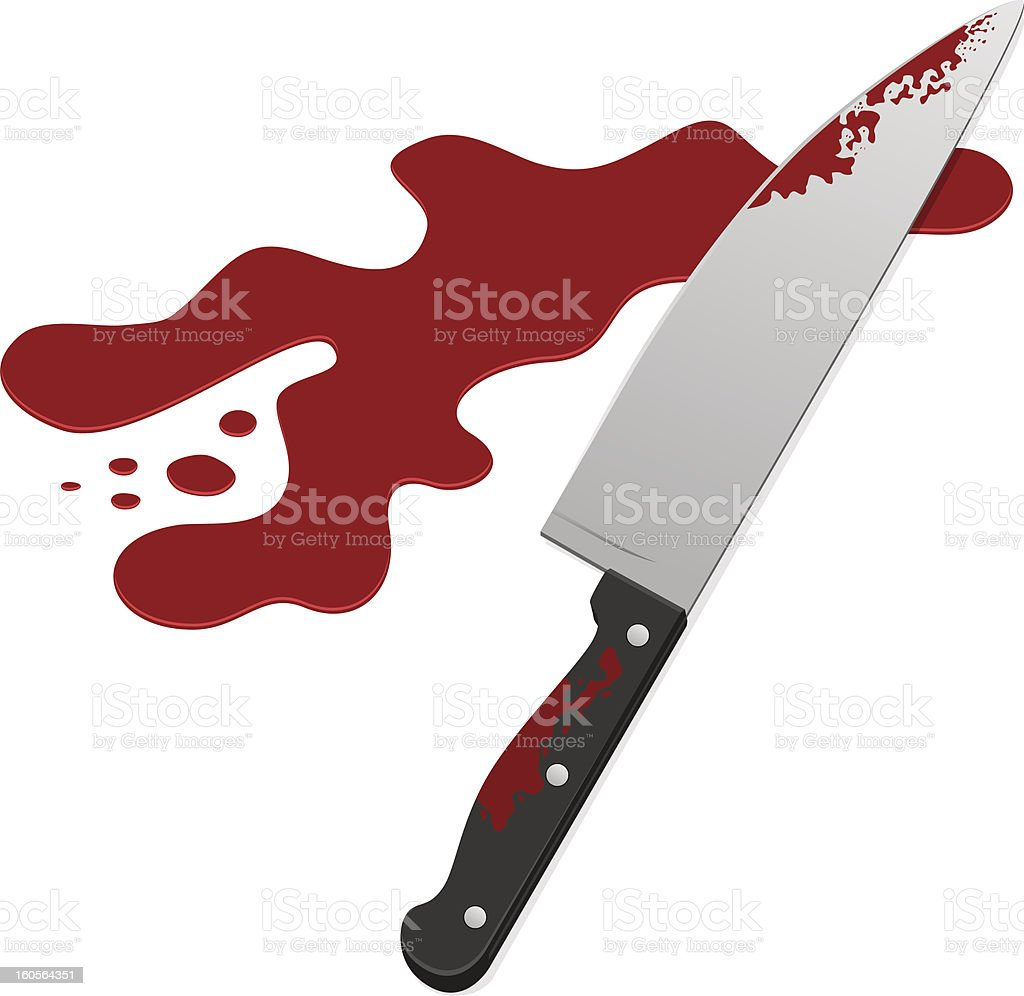Knife with blood vector art illustration