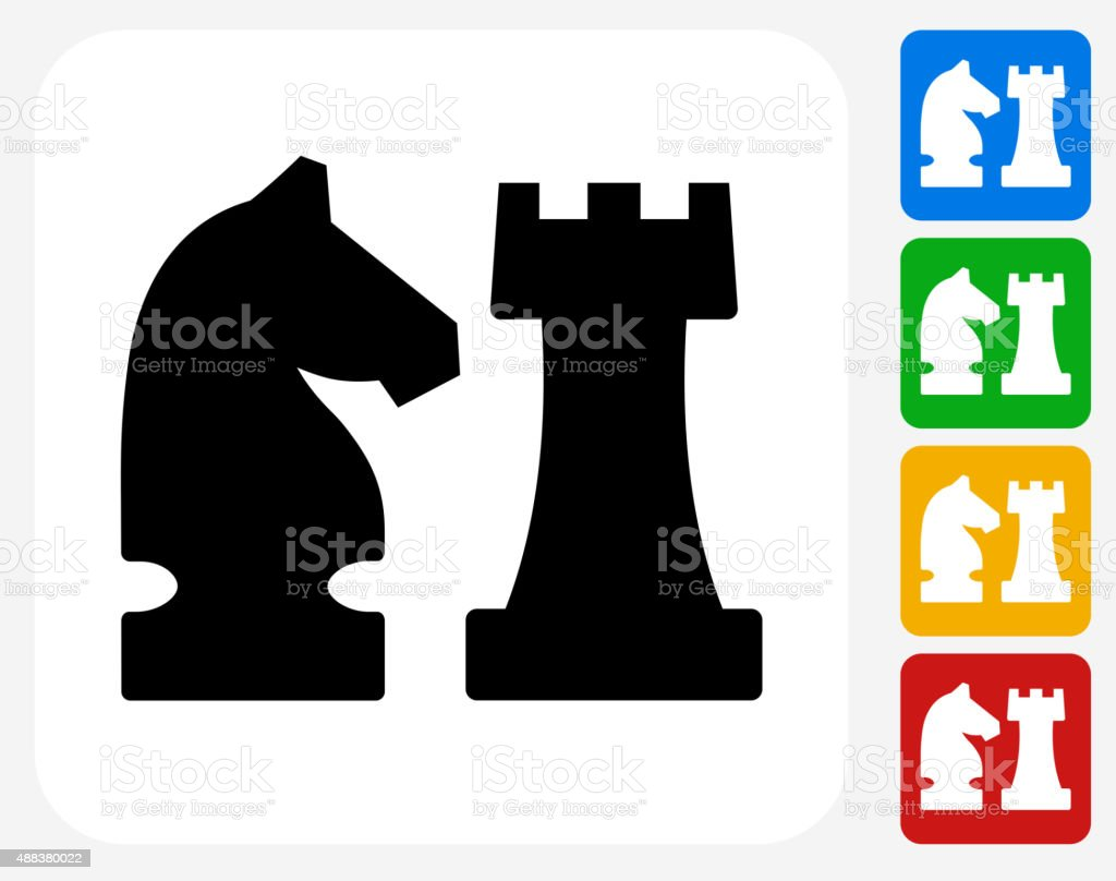 Knight and Castle Icon Flat Graphic Design vector art illustration