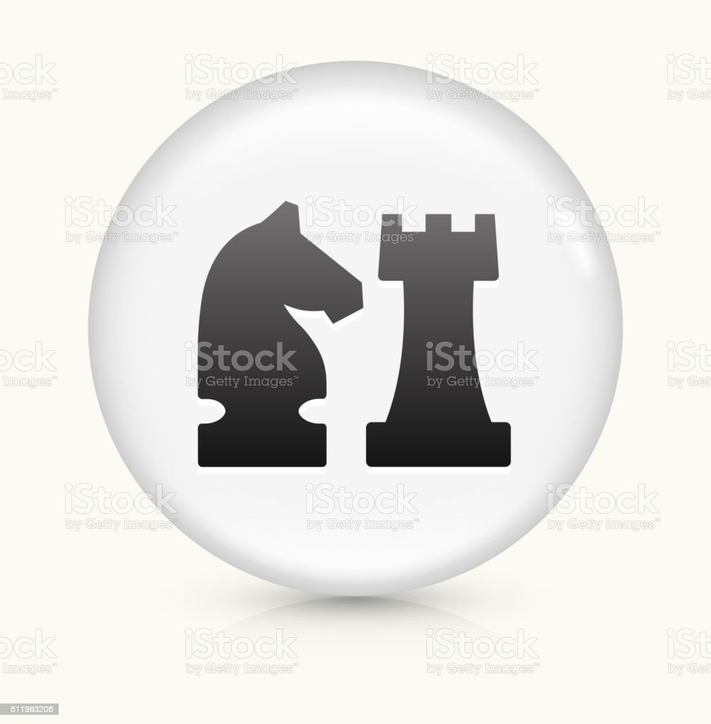 Knight and Castle icon on white round vector button vector art illustration