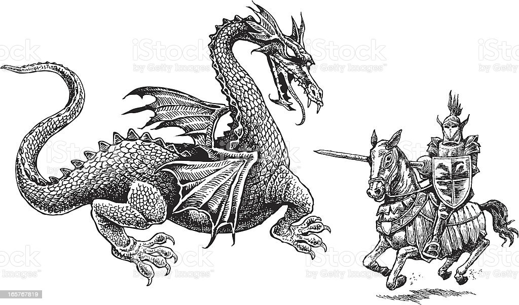 Knight and Dragon - Medieval vector art illustration