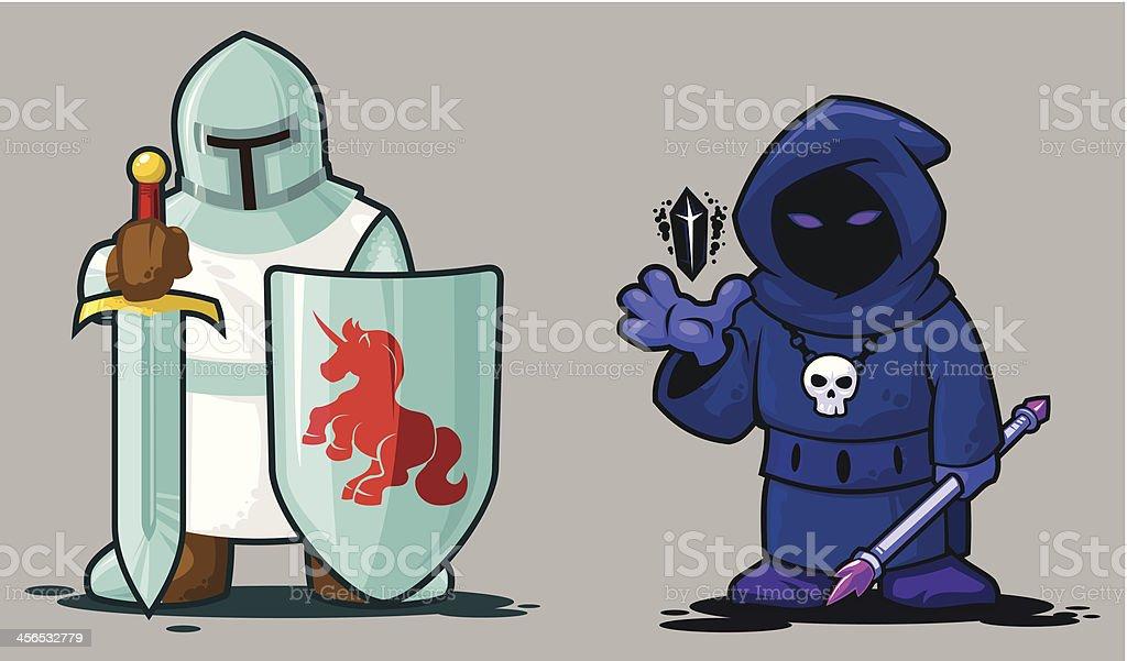Knight and Necromancer vector art illustration