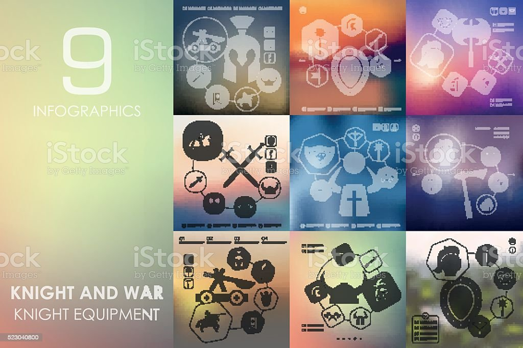 knight and war infographic with unfocused background vector art illustration